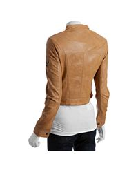 Marc New York - Natural Sand Washed Leather Zip Front Moto Jacket - Lyst