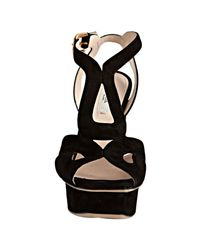 Prada | Black Suede Cutout Platform Sandals | Lyst