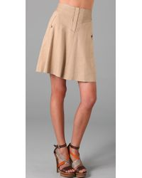 Rebecca Taylor | Natural A Line Skirt with Leather Trim | Lyst