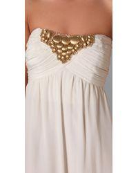Shoshanna - White Beaded Strapless Maxi Dress - Lyst