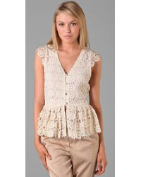 Alice + Olivia | Natural Wendy Lace Blouse | Lyst
