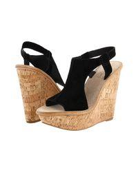 Elizabeth and James - Black Harp Suede Wedge Sandals - Lyst