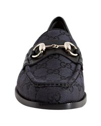 Gucci - Black Lead Gg Canvas Catherine Loafers - Lyst