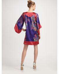 Halston - Purple Printed Tunic Dress - Lyst