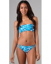 Mikoh Swimwear | Blue Corsica String Back Bikini Top | Lyst
