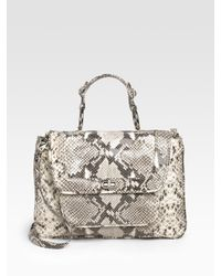 Rebecca Minkoff | Black Covet Snake-embossed Leather Top Handle Bag/white | Lyst