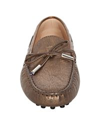 Tod's - Bronze Metallic Leather Heaven Driving Loafers - Lyst