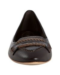 Tod's   Brown Leather Ballerina Whipstitch Flats   Lyst