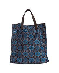 Prada - Blue Floral Tile Print Nylon Shopping Tote for Men - Lyst