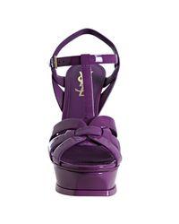 Saint Laurent   Purple Patent Leather Tribute 105 Platform Sandals   Lyst