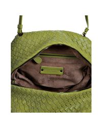 Bottega Veneta - Green Assenzio Basketwoven Leather Box Crossbody Bag - Lyst