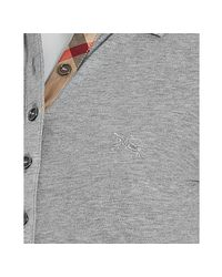 Burberry - Gray Brit Grey Cotton Nova Check Trim Polo - Lyst