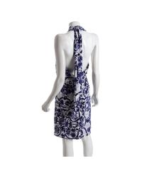 Gucci - Blue Floral Silk Wrap Front Halter Dress - Lyst