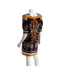 Gucci - Metallic Gold Shell Silk Stripe Detailed Puff Sleeve Dress - Lyst