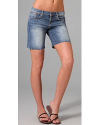 Joe's Jeans | Blue Leah Raw Hem Best Friend Shorts | Lyst
