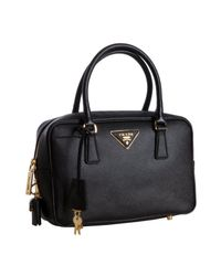 Prada - Black Saffiano Lux Bauletto Handbag - Lyst