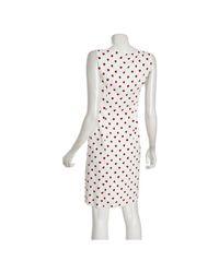 Prada - White Ivory Heart Print Woven Sheath Dress - Lyst
