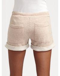 Splendid | Natural Melange-knit Drawstring Shorts | Lyst