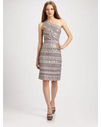 Badgley Mischka | Gray One-shoulder Ribbon Dress | Lyst