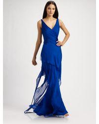 Carmen Marc Valvo | Blue Silk Chiffon Surplice Gown | Lyst