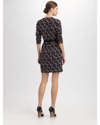DKNY | Black Floral-print Stretch-silk Dress | Lyst