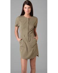 3.1 Phillip Lim - Green Short Sleeve Shirtdress with Open Back - Lyst