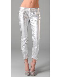 Theyskens' Theory | Metallic Posy Foil Jeans | Lyst