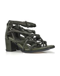 Alexander Wang | Green Tilda Knotted Suede and Leather Sandals | Lyst