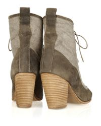 Rag & Bone | Natural Suede and Canvas Combat Boots | Lyst