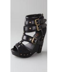 Ash | Black Lyn Buckle Wedge Sandals | Lyst