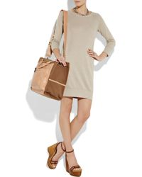 DKNY | Brown Leather and Cotton-canvas Tote | Lyst
