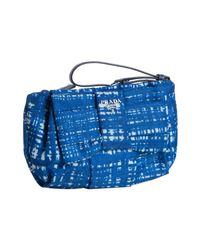 Prada | Royal Blue Crosshatch Printed Nylon Gabardine Bow Wristlet Clutch | Lyst