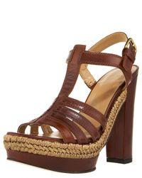 Stuart Weitzman | Blue Braid-detail T-strap Platform Sandal | Lyst