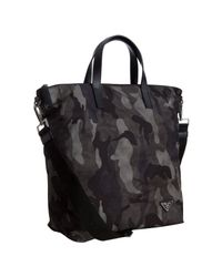 Prada - Gray Smoke Camouflage Nylon and Leather Travel Tote for Men - Lyst