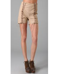 Opening Ceremony | Pink Lace Up Leather Shorts | Lyst