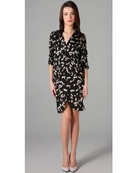Tucker | Black Disco Dress Printed Stretch-silk Dress | Lyst