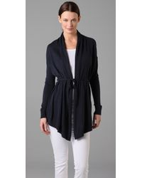 VINCE | Blue Tie-Front Draped Cardigan | Lyst