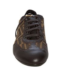 Fendi | Brown Tobacco Zucca Canvas Lace-up Sneakers | Lyst