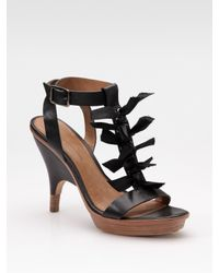 Leifsdottir | Black Bow T-strap Platform Sandals | Lyst