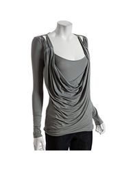 Rebecca Beeson | Blue Iron Layered Jersey Draped Scoop Neck Top | Lyst