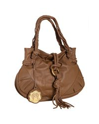 Vince Camuto | Brown Peanut Leather Foldover Tassel Shoulder Bag | Lyst