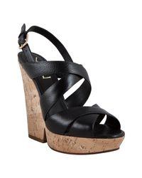 Saint Laurent | Black Leather Deauville 105 Platform Sandals | Lyst
