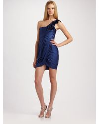 BCBGMAXAZRIA | Blue One-shoulder Draped Dress | Lyst