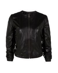 JOSEPH | Black Drum Collarless Leather Jacket | Lyst
