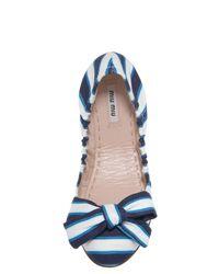 Miu Miu | Blue Striped Ballerina Flat with Bow | Lyst