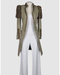 Balmain | Green Embellished Cotton-canvas Napoleon Coat | Lyst
