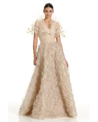 Oscar de la Renta - Natural Embroidered Gown - Lyst