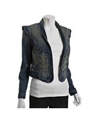 Current/Elliott - Blue Washboard Destroy Majorette Denim Jacket - Lyst