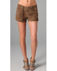 Free People | Brown Suede Utility Shorts | Lyst