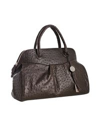 Furla   Brown Coffee Ostrich Stamped Yolande Medium Top Handle Bag   Lyst